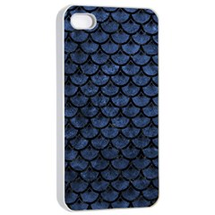 Scales3 Black Marble & Blue Stone (r) Apple Iphone 4/4s Seamless Case (white) by trendistuff