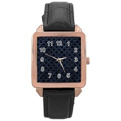 Scales2 Black Marble & Blue Stone Rose Gold Leather Watch  by trendistuff