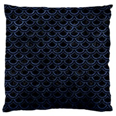 Scales2 Black Marble & Blue Stone Large Flano Cushion Case (two Sides) by trendistuff