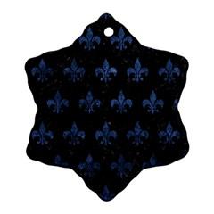 Royal1 Black Marble & Blue Stone (r) Ornament (snowflake) by trendistuff