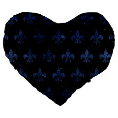 Royal1 Black Marble & Blue Stone (r) Large 19  Premium Flano Heart Shape Cushion by trendistuff
