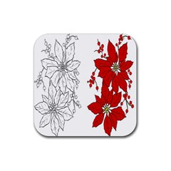 Poinsettia Flower Coloring Page Rubber Coaster (square)  by Simbadda