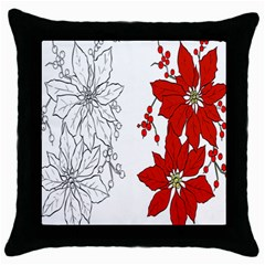Poinsettia Flower Coloring Page Throw Pillow Case (black) by Simbadda