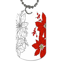 Poinsettia Flower Coloring Page Dog Tag (one Side) by Simbadda
