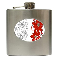 Poinsettia Flower Coloring Page Hip Flask (6 Oz) by Simbadda