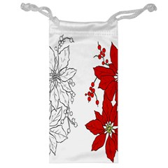 Poinsettia Flower Coloring Page Jewelry Bag by Simbadda