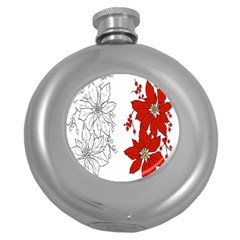 Poinsettia Flower Coloring Page Round Hip Flask (5 Oz) by Simbadda
