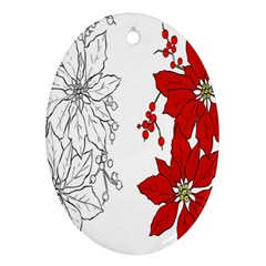Poinsettia Flower Coloring Page Oval Ornament (two Sides) by Simbadda