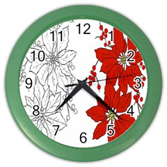 Poinsettia Flower Coloring Page Color Wall Clocks by Simbadda