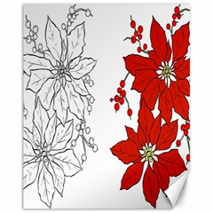 Poinsettia Flower Coloring Page Canvas 11  X 14   by Simbadda