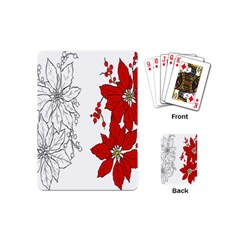 Poinsettia Flower Coloring Page Playing Cards (mini)  by Simbadda