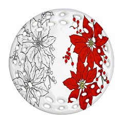 Poinsettia Flower Coloring Page Round Filigree Ornament (two Sides) by Simbadda
