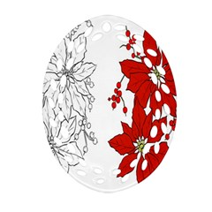 Poinsettia Flower Coloring Page Oval Filigree Ornament (two Sides) by Simbadda