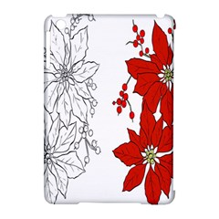 Poinsettia Flower Coloring Page Apple Ipad Mini Hardshell Case (compatible With Smart Cover) by Simbadda