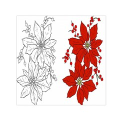 Poinsettia Flower Coloring Page Small Satin Scarf (square) by Simbadda