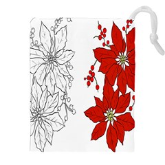 Poinsettia Flower Coloring Page Drawstring Pouches (xxl) by Simbadda