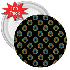 Peacock Inspired Background 3  Buttons (100 Pack)  by Simbadda
