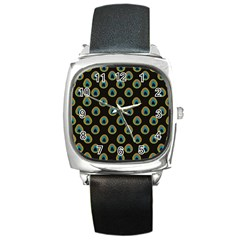 Peacock Inspired Background Square Metal Watch by Simbadda