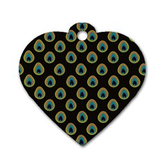 Peacock Inspired Background Dog Tag Heart (two Sides) by Simbadda