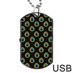 Peacock Inspired Background Dog Tag Usb Flash (two Sides) by Simbadda