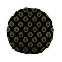 Peacock Inspired Background Standard 15  Premium Round Cushions by Simbadda