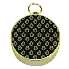 Peacock Inspired Background Gold Compasses by Simbadda