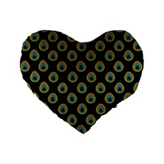 Peacock Inspired Background Standard 16  Premium Flano Heart Shape Cushions by Simbadda