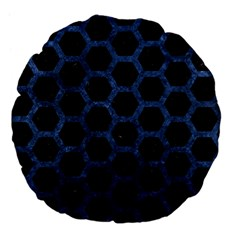 Hexagon2 Black Marble & Blue Stone Large 18  Premium Flano Round Cushion  by trendistuff