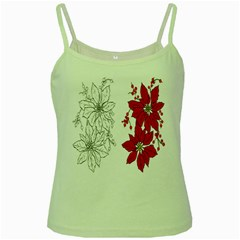 Poinsettia Flower Coloring Page Green Spaghetti Tank by Simbadda