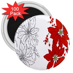 Poinsettia Flower Coloring Page 3  Magnets (100 Pack) by Simbadda