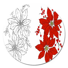 Poinsettia Flower Coloring Page Magnet 5  (round) by Simbadda
