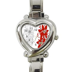 Poinsettia Flower Coloring Page Heart Italian Charm Watch by Simbadda