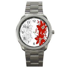 Poinsettia Flower Coloring Page Sport Metal Watch by Simbadda