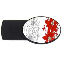 Poinsettia Flower Coloring Page Usb Flash Drive Oval (4 Gb) by Simbadda
