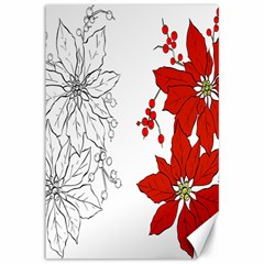 Poinsettia Flower Coloring Page Canvas 12  X 18   by Simbadda