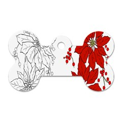 Poinsettia Flower Coloring Page Dog Tag Bone (two Sides) by Simbadda