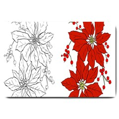 Poinsettia Flower Coloring Page Large Doormat  by Simbadda