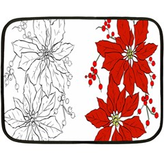 Poinsettia Flower Coloring Page Fleece Blanket (mini) by Simbadda