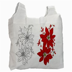 Poinsettia Flower Coloring Page Recycle Bag (one Side) by Simbadda