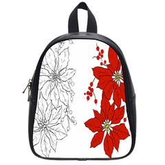 Poinsettia Flower Coloring Page School Bags (small)  by Simbadda