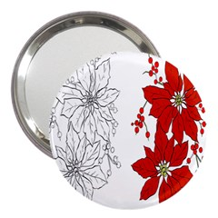 Poinsettia Flower Coloring Page 3  Handbag Mirrors by Simbadda