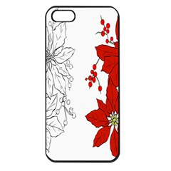 Poinsettia Flower Coloring Page Apple Iphone 5 Seamless Case (black) by Simbadda