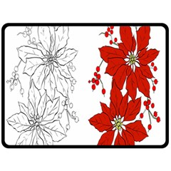 Poinsettia Flower Coloring Page Double Sided Fleece Blanket (large)  by Simbadda