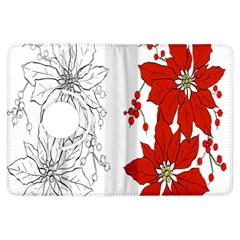 Poinsettia Flower Coloring Page Kindle Fire Hdx Flip 360 Case by Simbadda