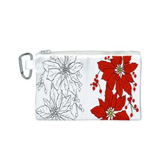 Poinsettia Flower Coloring Page Canvas Cosmetic Bag (s) by Simbadda