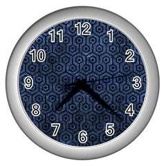 Hexagon1 Black Marble & Blue Stone (r) Wall Clock (silver) by trendistuff