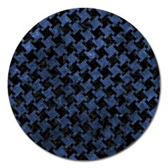 Houndstooth2 Black Marble & Blue Stone Magnet 5  (round) by trendistuff