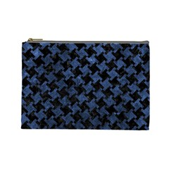 Houndstooth2 Black Marble & Blue Stone Cosmetic Bag (large) by trendistuff
