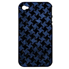 Houndstooth2 Black Marble & Blue Stone Apple Iphone 4/4s Hardshell Case (pc+silicone) by trendistuff