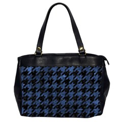 Houndstooth1 Black Marble & Blue Stone Oversize Office Handbag (2 Sides) by trendistuff